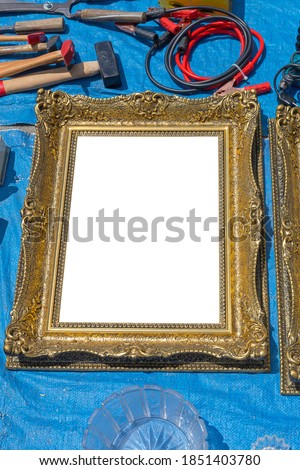 Empty Gold Picture Frame at Tarp Flea Market