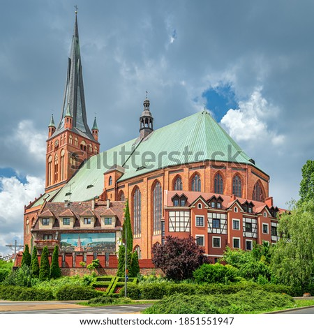 The Cathedral Basilica of St James the Apostle, church was established in 1187 and completed in XIV century. It has 110m high tower, Szczecin, Poland Royalty-Free Stock Photo #1851551947
