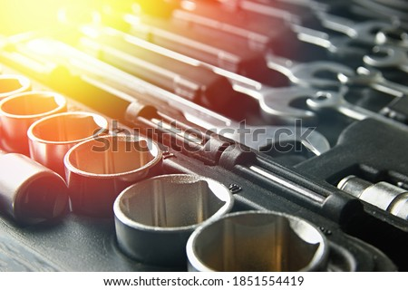 Set of chrome wrenches or spanners, hexagon socket in plastic black box. Mechanic tools for car service