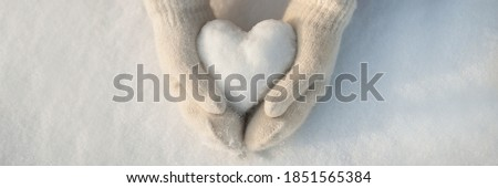 Snow heart in hands. Human hands in warm beige gloves with snowy heart against snow background. I love winter or St.Valentine's Day romantic creative concept. Panorama banner with free space for text Royalty-Free Stock Photo #1851565384