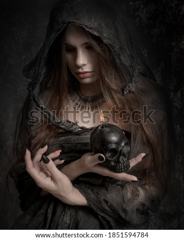 Close-up portrait of a witch, ugly old grey costome Royalty-Free Stock Photo #1851594784