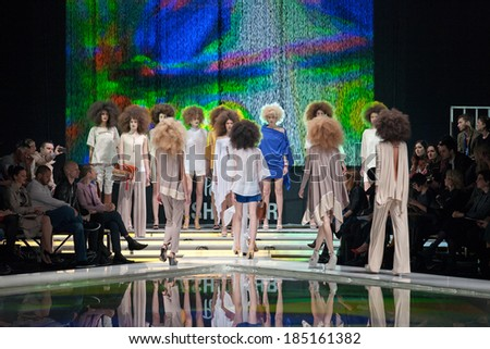 ZAGREB, CROATIA - MARCH 28, 2014: Fashion models wearing clothes designed by Marina Design and Marija Ivanovic accessories on the 'Fashion.hr' fashion show #185161382