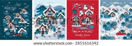 Fabulous winter. Vector illustration of christmas new year city, houses, forest, trees, santa claus and snowman. Drawings for postcard, poster and background  #1851616342