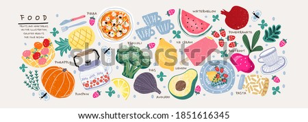 Food. Vector illustration: pumpkin, rosemary, apple, basket, teapot, pineapple, broccoli, lemon, avocado, plate, watermelon, beet, strawberry, pomegranate, beetroot, cup, pasta    #1851616345