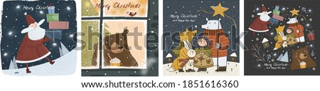Happy New Year and Merry Christmas! Vector cute illustrations of a cheerful Santa Claus with gifts, a bear outside a winter window, and animals at night on the holiday. Drawings for greeting card and  #1851616360