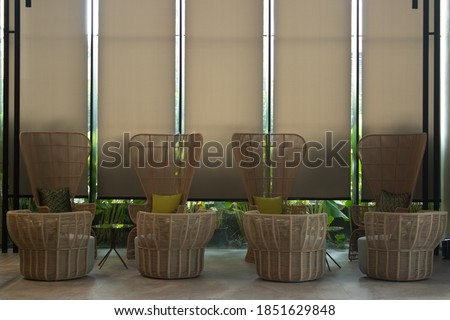 Interior design, 4 seats with a symmetry composition