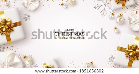 Merry Christmas and Happy New Year. Background Xmas design of realistic gifts box, 3d bauble balls, glitter gold confetti. Christmas poster, greeting cards. Flat lay, top view. Holiday composition #1851656302