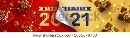 2021 Happy New Year Promotion Poster or banner with open gift wrap paper and gift box in red and gold colors.Change or open to new year 2021 concept.Promotion and shopping template for New Year 2021 #1851678733