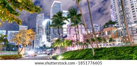 Street view of Downtown Miami at night, Florida.