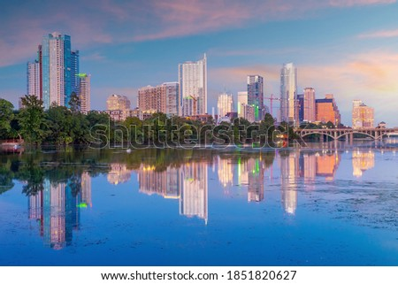 Austin city downtown skyline cityscape of Texas USA at sunset