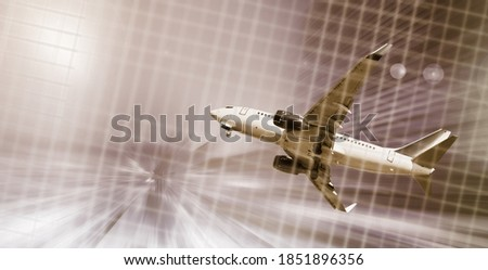 Airplane flying with dynamic motion blur abstract background #1851896356