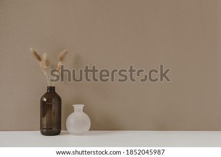 Retro bottle with dry wheat / rye stalk against pastel beige background. Minimal modern interior decoration concept. Royalty-Free Stock Photo #1852045987