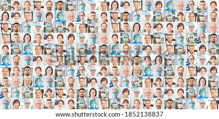 Panoramic portrait collage of doctor and nursing and intensive care team Royalty-Free Stock Photo #1852138837