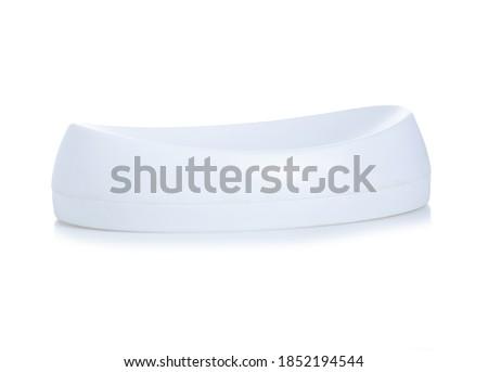 White empty soap dish on white background isolation Royalty-Free Stock Photo #1852194544