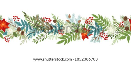 Seamless Сhristmas border with winter plants and floral, poinsettia, holly berries, mistletoe, pine and fir branches, cones, rowan berries. Xmas and New Year vector illustration.