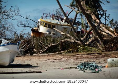 Wawa Bar in rubble after Hurricane Eta Path Royalty-Free Stock Photo #1852403047