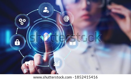 Standard quality control. Certification. Business, technology, internet and networking concept. Young businessman select the icon on the virtual display. Royalty-Free Stock Photo #1852415416