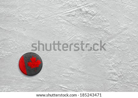 Washer with the image of the Canadian flag on a hockey rink