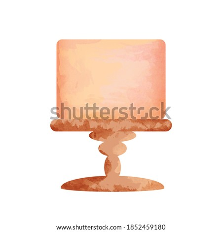 Watercolor cake on stand stock illustration, cake clip art, watercolor base cake isolated on white background