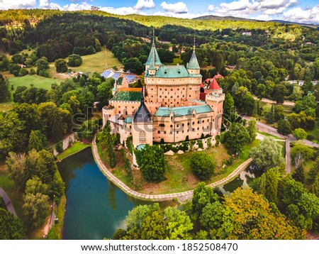 Aerial view of Bojnice medieval castle, UNESCO heritage in Slovakia Slovakia landscape travel. concept. Romantic castle. Royalty-Free Stock Photo #1852508470
