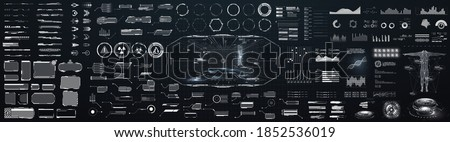 Sci-fi futuristic hud dashboard display virtual reality technology screen. Big collection HUD, GUI elements for VR, UI design. Futuristic User Interface set. Statistics, data information infographic Royalty-Free Stock Photo #1852536019