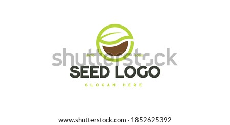 Logo design for the seed industry. Seed industry and farming logo. Green Bean logo. Seed logo. #1852625392