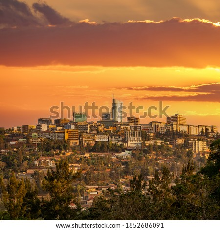 Dusk over Kigali downtown skyscraper in Rwanda Royalty-Free Stock Photo #1852686091