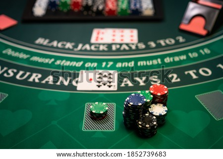 A Casino Black Jack table  Royalty-Free Stock Photo #1852739683