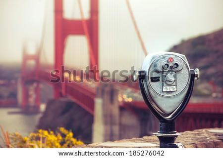 binocular - golden gate. Cross processing