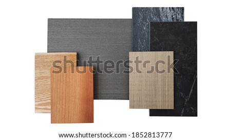 interior material board including brown laminated, oak engineer flooring, burnt sienna and douglas fir wooden veneer, black marble artificial stone isolated on white background with clipping path. Royalty-Free Stock Photo #1852813777