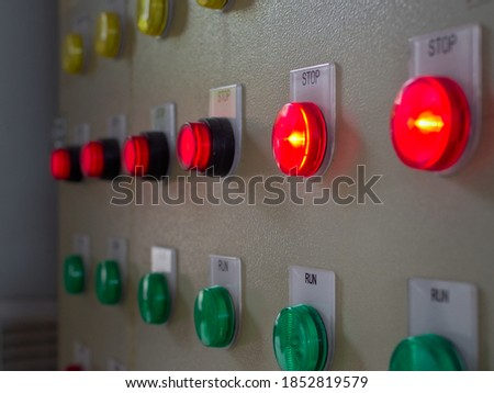 Close up shot of power panel stop operation button visual light Royalty-Free Stock Photo #1852819579