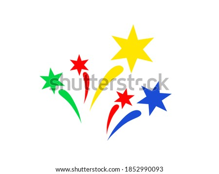 Multi colored fireworks icon isolated on white. Colorful bright splashes. Flat design. Festive clip art for celebration, fun events and other your ideas.