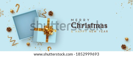Christmas Empty Open gift box template. Xmas design Realistic decorative objects. Sale banner, surprise poster, flyer and brochure. mock up holiday. Celebrate birthday, anniversary, wedding. flat lay. #1852999693