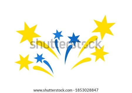 Fireworks icon. Splashes of blue and gold colors. Flat design. Festive clip art for celebration, fun events and other your ideas.