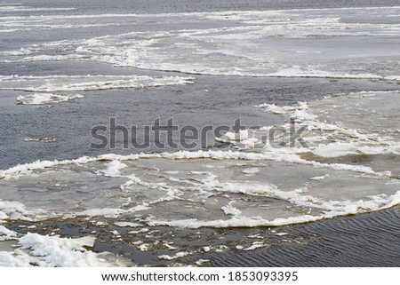 the water surface of a river, sea, lake, binds the ice. Freezing up and drifting of ice, spring, autumn. got colder. Flow                                #1853093395