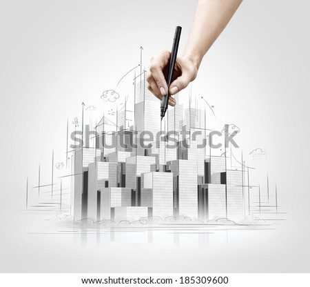 Hand drawing of urban scene. Construction concept