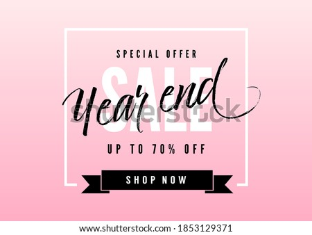 Year end sale poster or flyer design. End of year sale on pink background. Royalty-Free Stock Photo #1853129371
