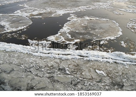 the water surface of a river, sea, lake, binds the ice. Freezing up and drifting of ice, spring, autumn. got colder. Flow                                #1853169037