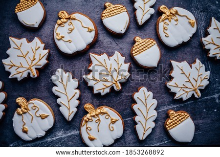 Thanksgiving Day, Autumn cookies on a grey background. Autumn concept