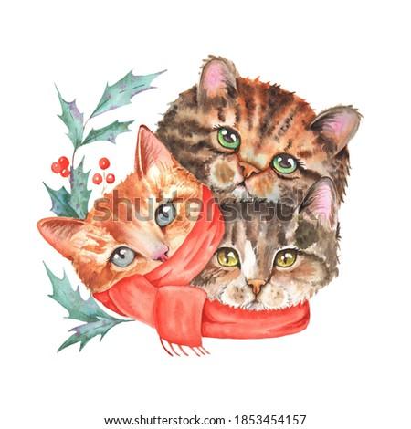 Watercolor Hand Drawn Christmas Cats Illustration