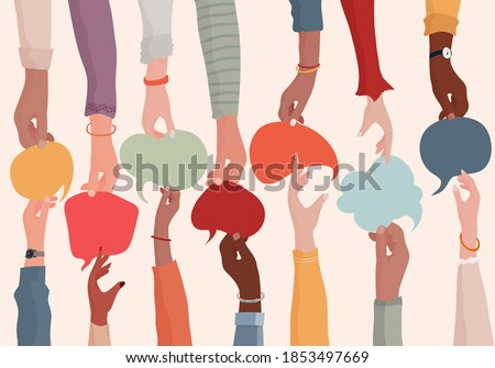 Agreement or affair between a group of colleagues or collaborators.Diversity People who exchange information.Arms and hands holding speech bubble.Concept of sharing and exchange.Community Royalty-Free Stock Photo #1853497669