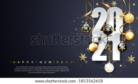 2021 Happy new year. Happy New Year Banner with numbers date 2021. Dark background. Vector illustration. #1853562658