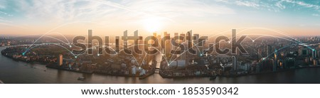 Financial district london,  cityscape view of London scenery big data network connections Royalty-Free Stock Photo #1853590342