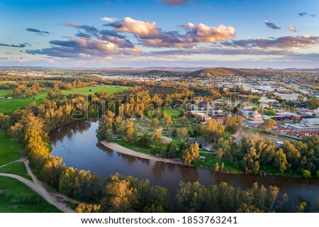 Sunset over the Murrumbidgee River in Wagga Wagga aerial drone view  Royalty-Free Stock Photo #1853763241
