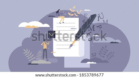 Poetry as literature and creative arts writing culture tiny person concept. Diary publication with romantic letters and poems as personal expression with symbolic ink feather form vector illustration. Royalty-Free Stock Photo #1853789677