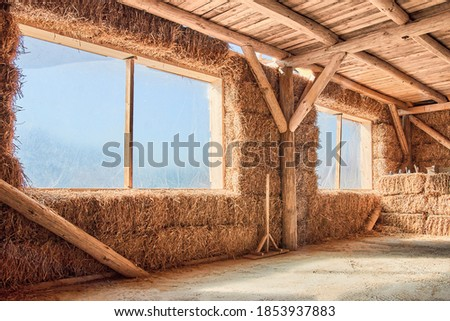 Straw house. Eco friendly home. Inside view Royalty-Free Stock Photo #1853937883