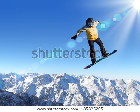 Man on snowboard jumping in sky. Summer vacation #185395205