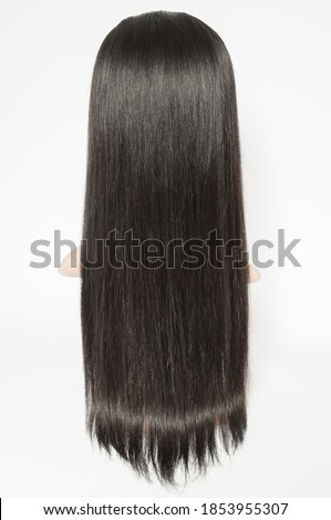 virgin remy clip in straight black human hair weaves extensions wigs Royalty-Free Stock Photo #1853955307