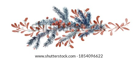 Wtercolor Christmas and New Year illustration. Clip-art with tree Branches, red berry, mistletoe and holly. Isolated on white. Winter holiday Greeting Card, invitations, present decor