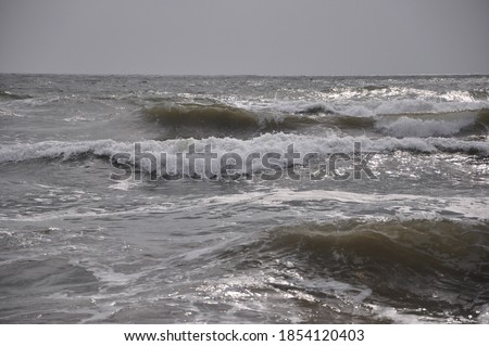 ocean storm at sunset. high wave throws foam on the shore
